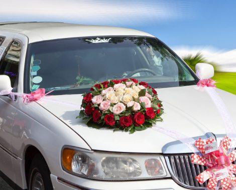 a white wedding limo