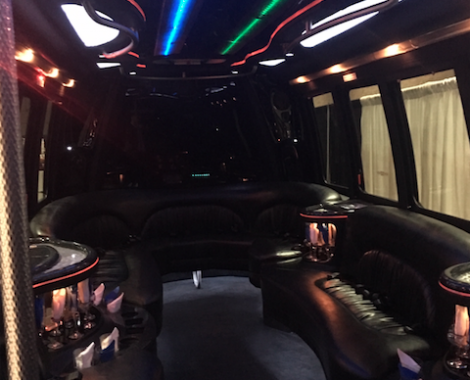 the poutside of a black party bus